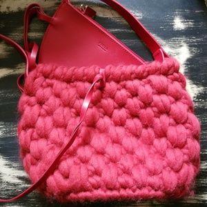 Vintage Furla Purse Red/Leather/Wool Unique